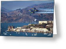Blue Angels Over Alcatraz Greeting Card