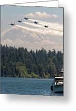 Blue Angels Over Lake Washington Greeting Card