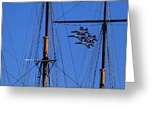 Blue Angels Pass Behind Masts Of The Balclutha At Hyde Street Pier Greeting Card