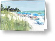 Blue Beach Umbrellas, Crescent Beach, Siesta Key - Wide Greeting Card