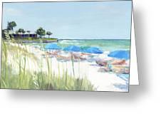 Blue Beach Umbrellas On Point Of Rocks, Crescent Beach, Siesta Key Wide-narrow Greeting Card
