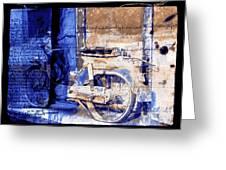 Blue Bike Abandoned India Rajasthan Blue City 2c Greeting Card