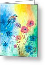 Blue Bird And Flowers Greeting Card