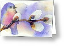 Blue Bird And Pussywillow Greeting Card