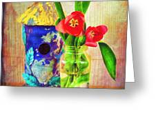 Blue Birdhouse And Red Tulips 2 Greeting Card