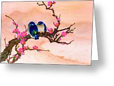 Blue Birds And Plum Blossoms #48 Greeting Card