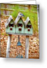 Blue Birds Castle Greeting Card by Laura Brightwood
