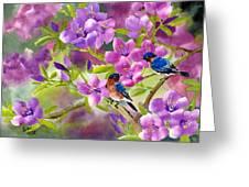 Blue Birds With Azalea Greeting Card