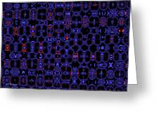 Blue Black Red Warp Abstract Greeting Card