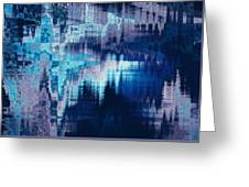 blue blurred abstract background texture with horizontal stripes. glitches, distortion on the screen broadcast digital TV satellite channels Greeting Card
