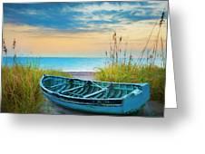 Blue Boat At Dawn Watercolors Painting Greeting Card