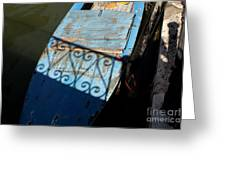 Blue Boat In Venice With Shadow Greeting Card