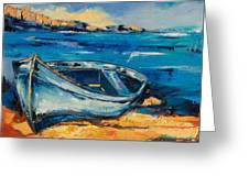 Blue Boat On The Mediterranean Beach Greeting Card