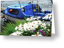 Blue Boat With Daisies Greeting Card