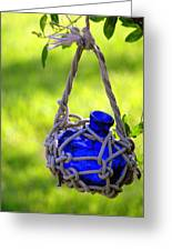 Small Blue Bottle Garden Art Greeting Card