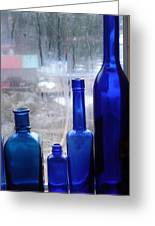 Blue Bottles Greeting Card