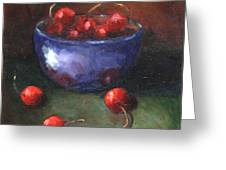 Blue Bowl And Cherries Greeting Card