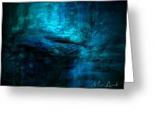 Blue Bridge Abstract Greeting Card by Miriam Shaw