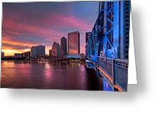 Blue Bridge Red Sky Jacksonville Skyline Greeting Card