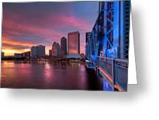 Blue Bridge Red Sky Jacksonville Skyline Greeting Card by Debra and Dave Vanderlaan