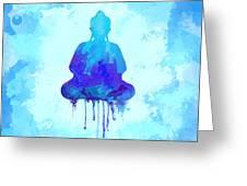 Blue Buddha Watercolor Painting Greeting Card