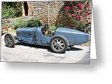 Blue Bugatti Oldtimer Greeting Card