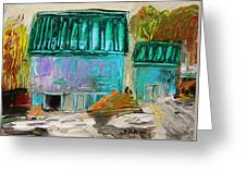 Blue Buildings Together-musing Greeting Card