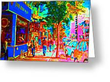 Blue Cafe In Springtime Greeting Card