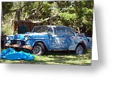 Blue Car On The Bayou Greeting Card