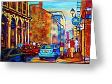 Blue Cars At The Resto Bar Greeting Card