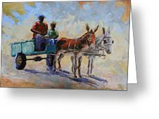 Blue Cart Greeting Card