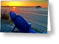 Blue Chairs Pier Sunrise Greeting Card