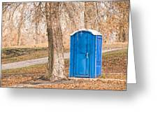 Blue Chemical Toilet In The Park Greeting Card