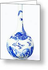 Blue  Chinese Chinoiserie Pottery Vase No 5 Greeting Card
