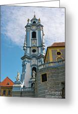 Blue Church Tower In Durnstein Greeting Card
