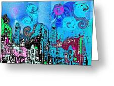 Blue City Greeting Card