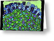 Blue City On A Hill Greeting Card