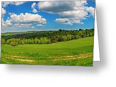 Blue Cloudy Sky Over Green Hills And Country Road Greeting Card