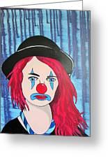 Blue Clown Greeting Card