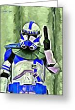 Blue Commander Stormtrooper At Work - Pa Greeting Card