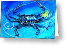 Blue Crab Abstract Greeting Card