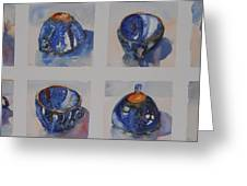 Blue Cups In Eight Greeting Card