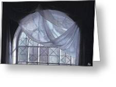 Hand-painted Blue Curtain In An Arch Window Greeting Card