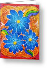 Blue Daisies Gone Wild Greeting Card