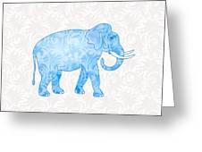 Blue Damask Elephant Greeting Card