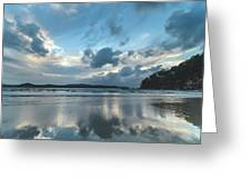Blue Dawn Seascape With Cloud Reflections Greeting Card