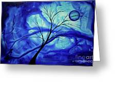 Blue Depth Abstract Original Acrylic Landscape Moon Painting By Megan Duncanson Greeting Card