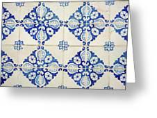Blue Diamond Flower Tiles Greeting Card