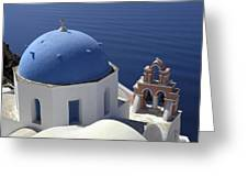 Blue Dome Pink Bell Tower Greeting Card