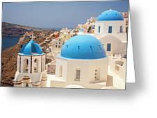 Blue Domed Churches Santorini Greeting Card